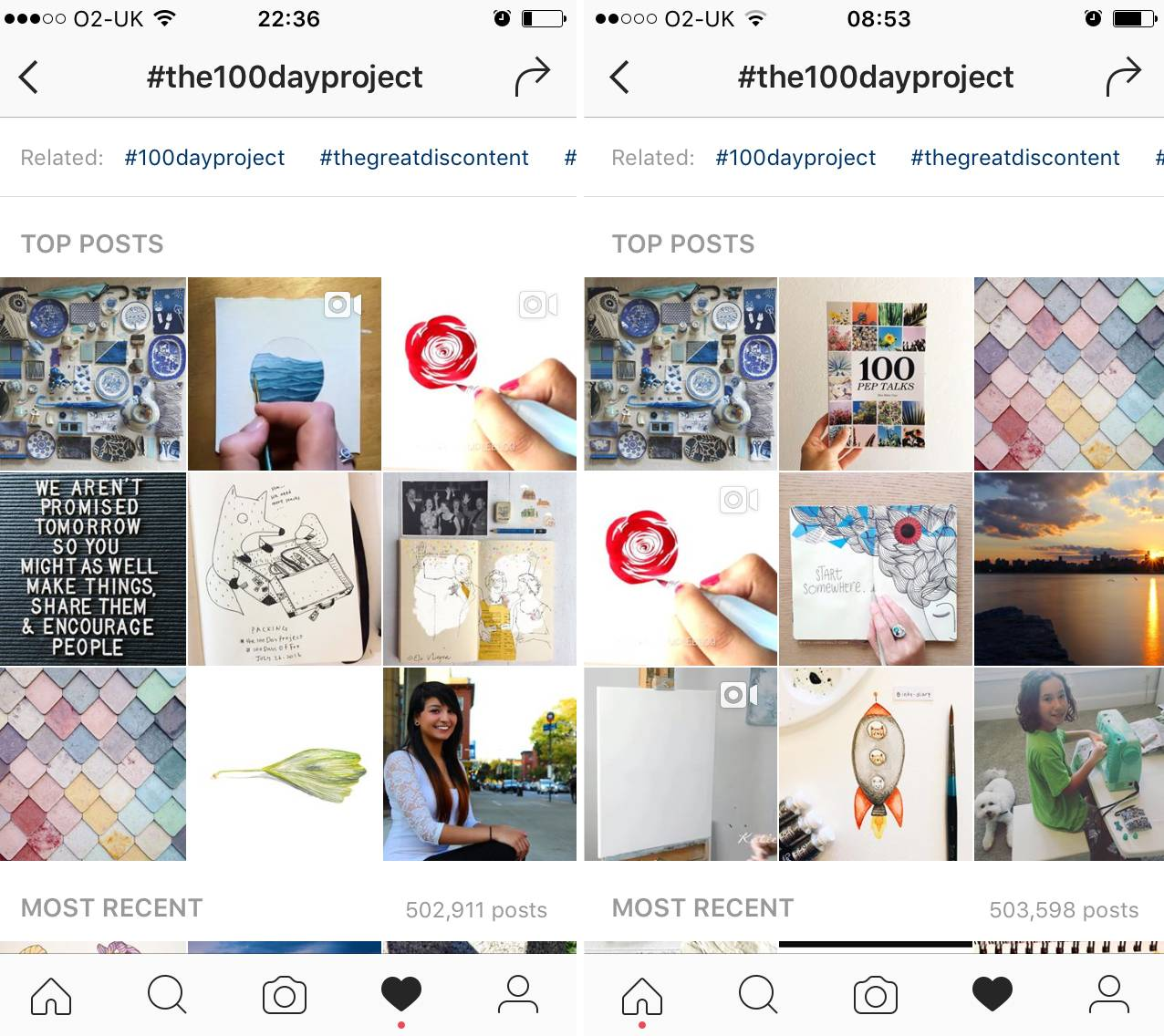 100 Day Project Hashtags