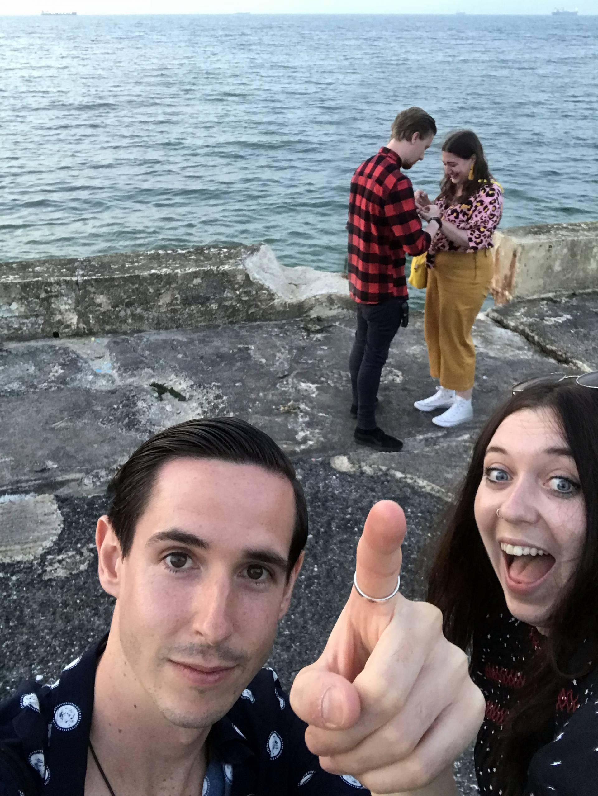 Engagement story selfie