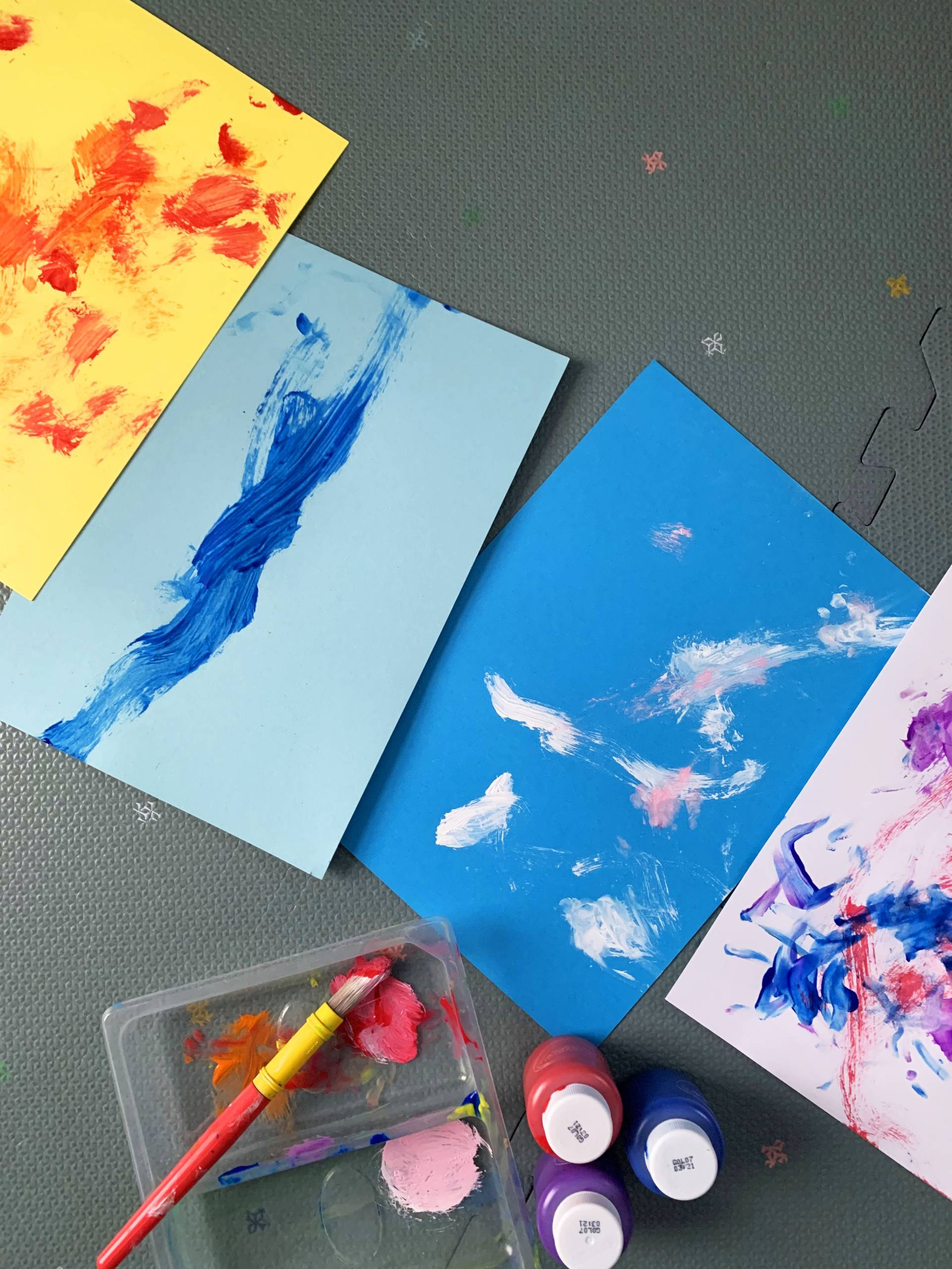 Creating abstract art with babies